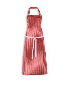 Nylon College Striped Bib Apron - Red