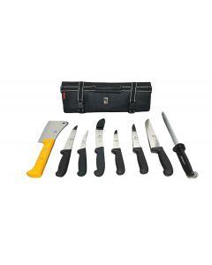 Icel 9 Piece Pro Butchers Knife Set - Black