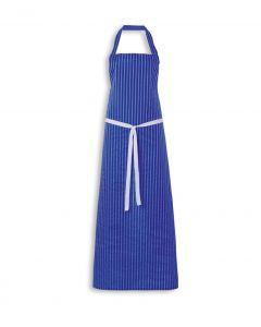 Nylon Twin Striped Bib Apron - Royal Blue