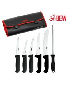 BEW 7 Piece Butchers Knife Set - Black