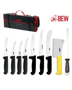 BEW 10 Piece Pro Butchers Knife Set - Black