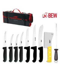 BEW 10 Piece Pro Butchers Knife Set - Black