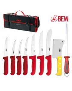 BEW 10 Piece Pro Butchers Knife Set - Red