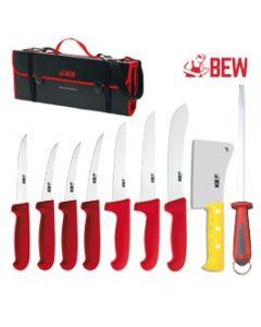 BEW 10 Piece Pro Butchers Knife Set - Red