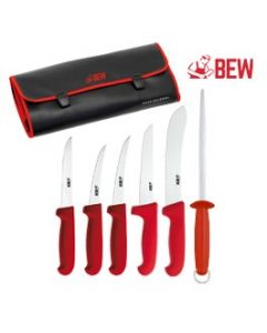 BEW 7 Piece Butchers Knife Set - Red