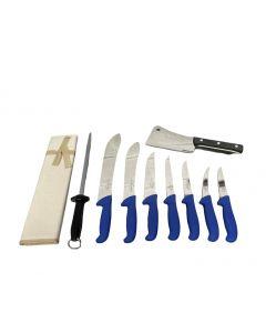 F Dick 10 Piece Pro Butchers Knife Set - Blue