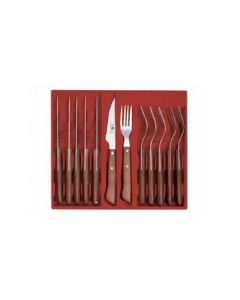 Icel Steak Knife & Fork Set - Wood