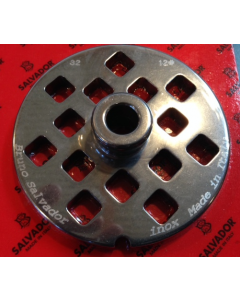 Salvador Size 32 Mincer Plate With Hub Square Holes - 8mm